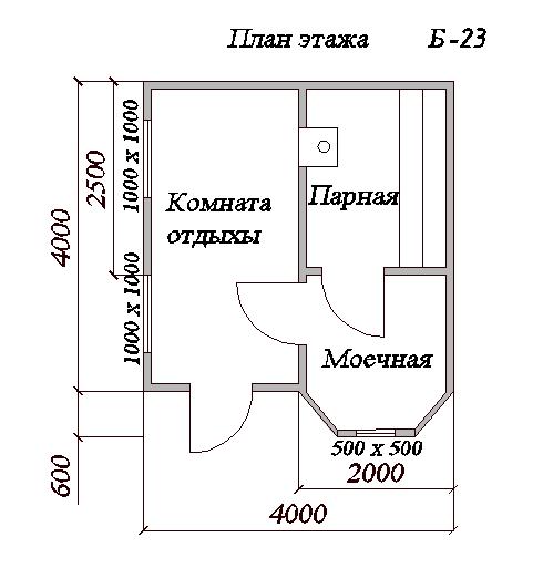 Баня из бруса 4х4м с эркером (Б-23)